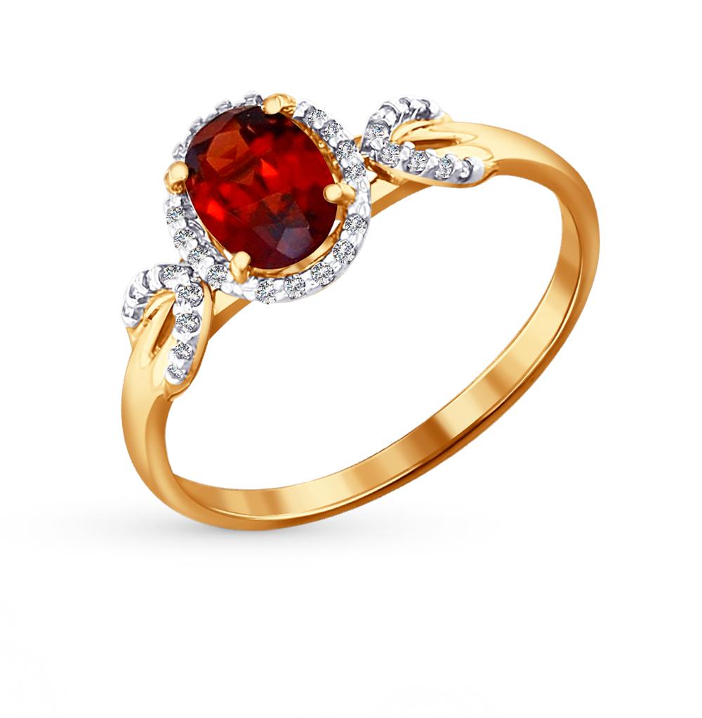 Фото «Золотое кольцо с фианитами и гранатом SOKOLOV 713803*»