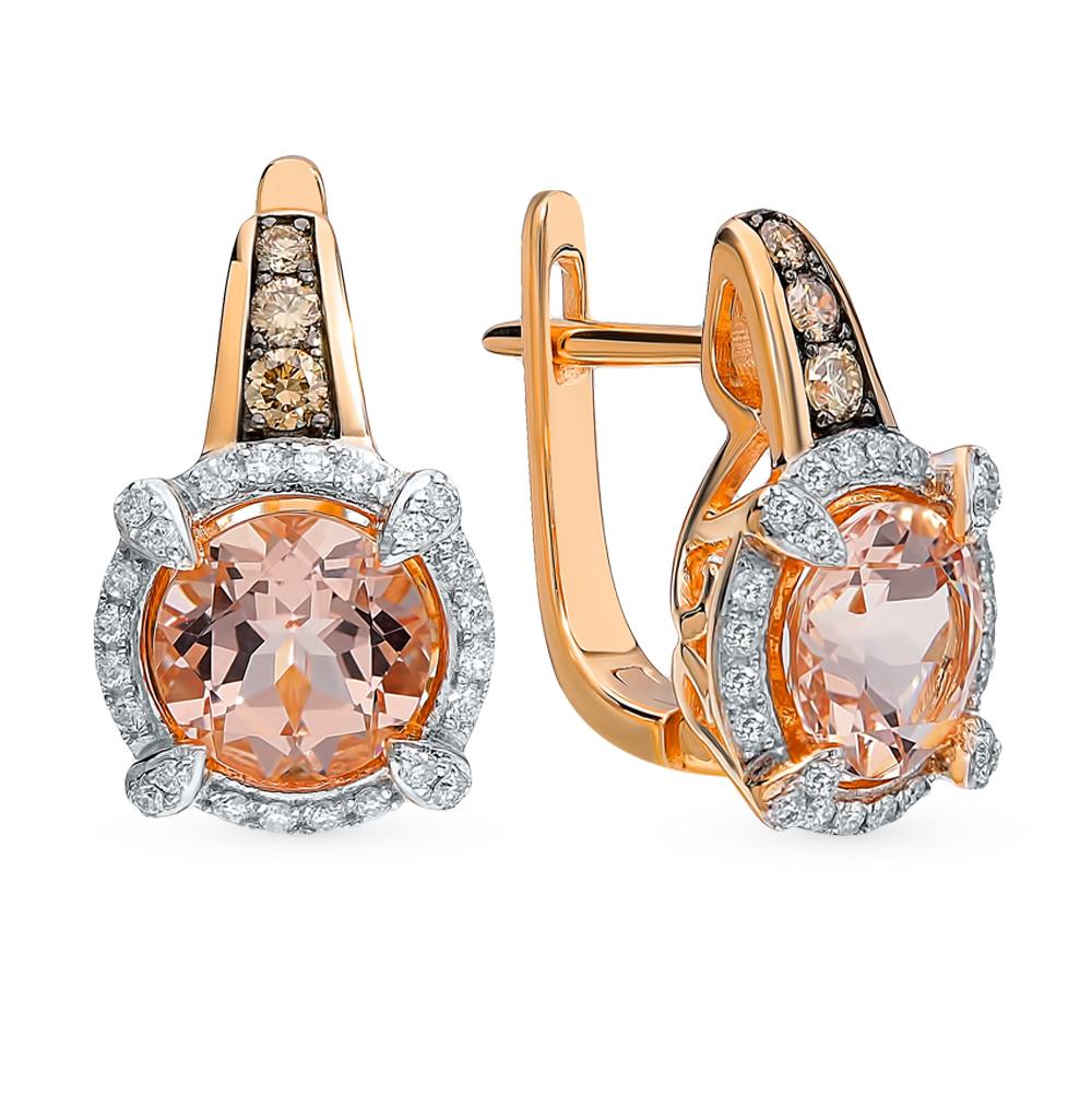 золотые серьги с коньячными бриллиантами, морганитами и бриллиантами