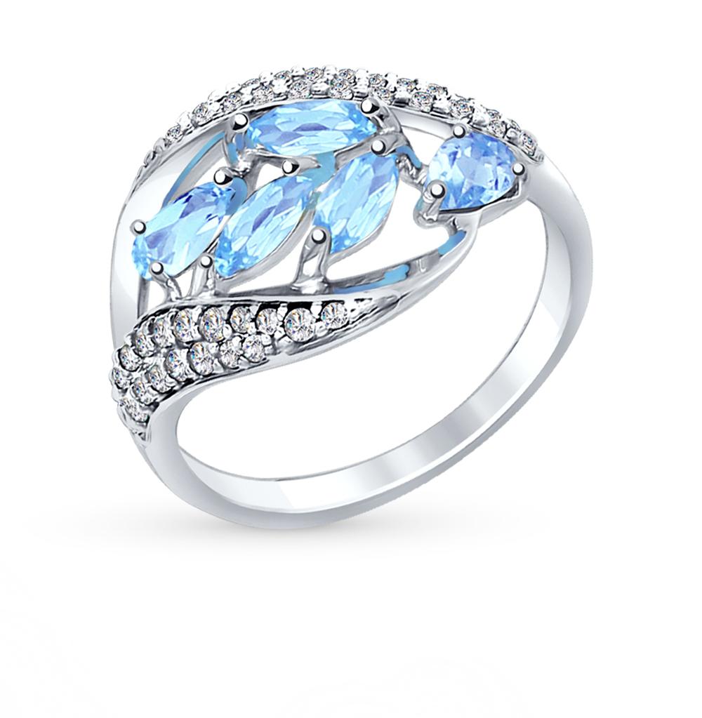 серебряное кольцо с топазами и фианитами SOKOLOV 92011363