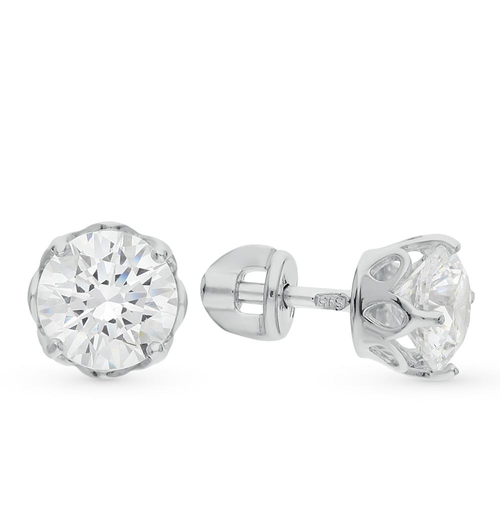 серебряные серьги с кристаллами swarovski SOKOLOV 89020025