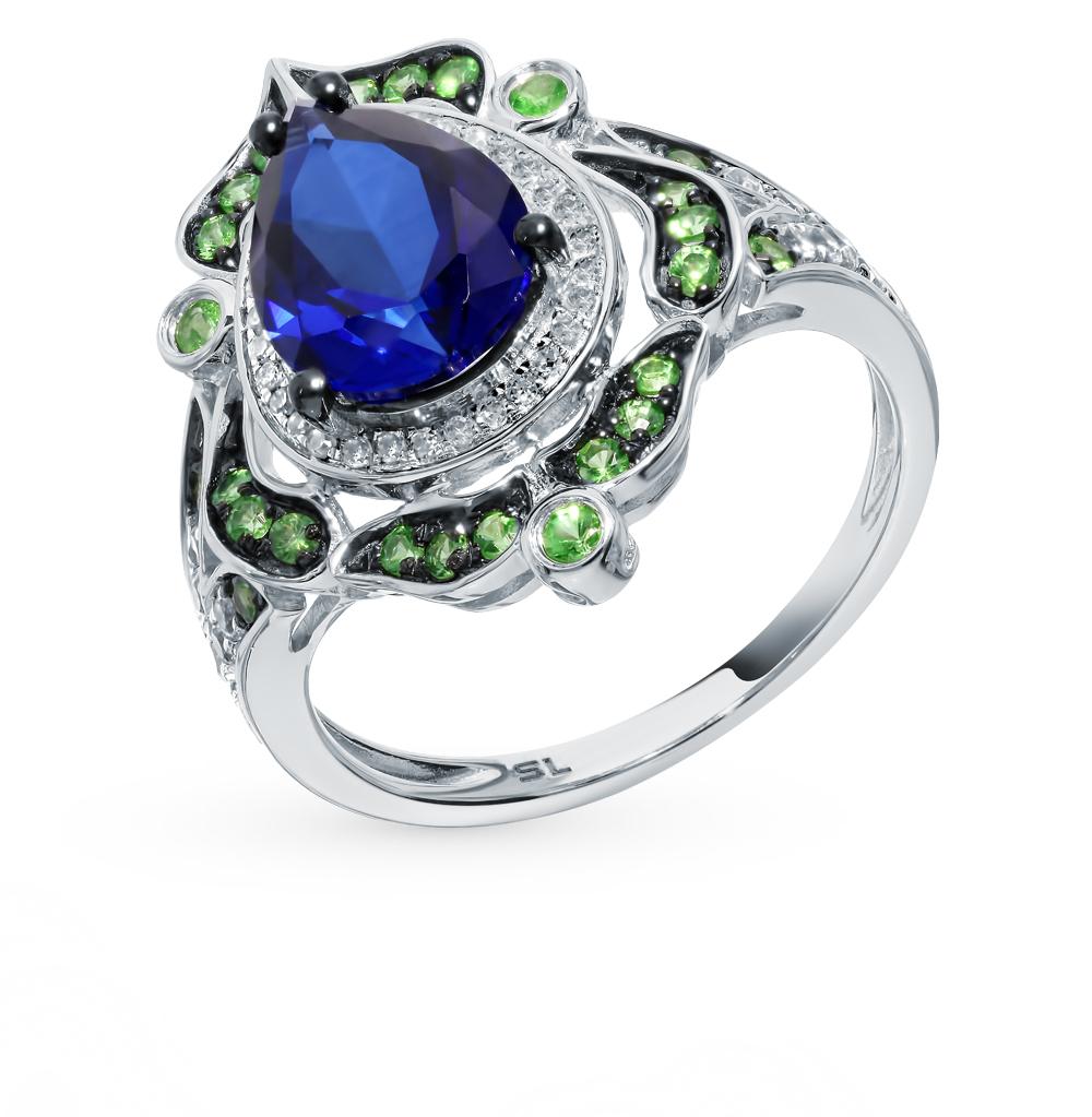 золотое кольцо с сапфирами, цаворитами и бриллиантами