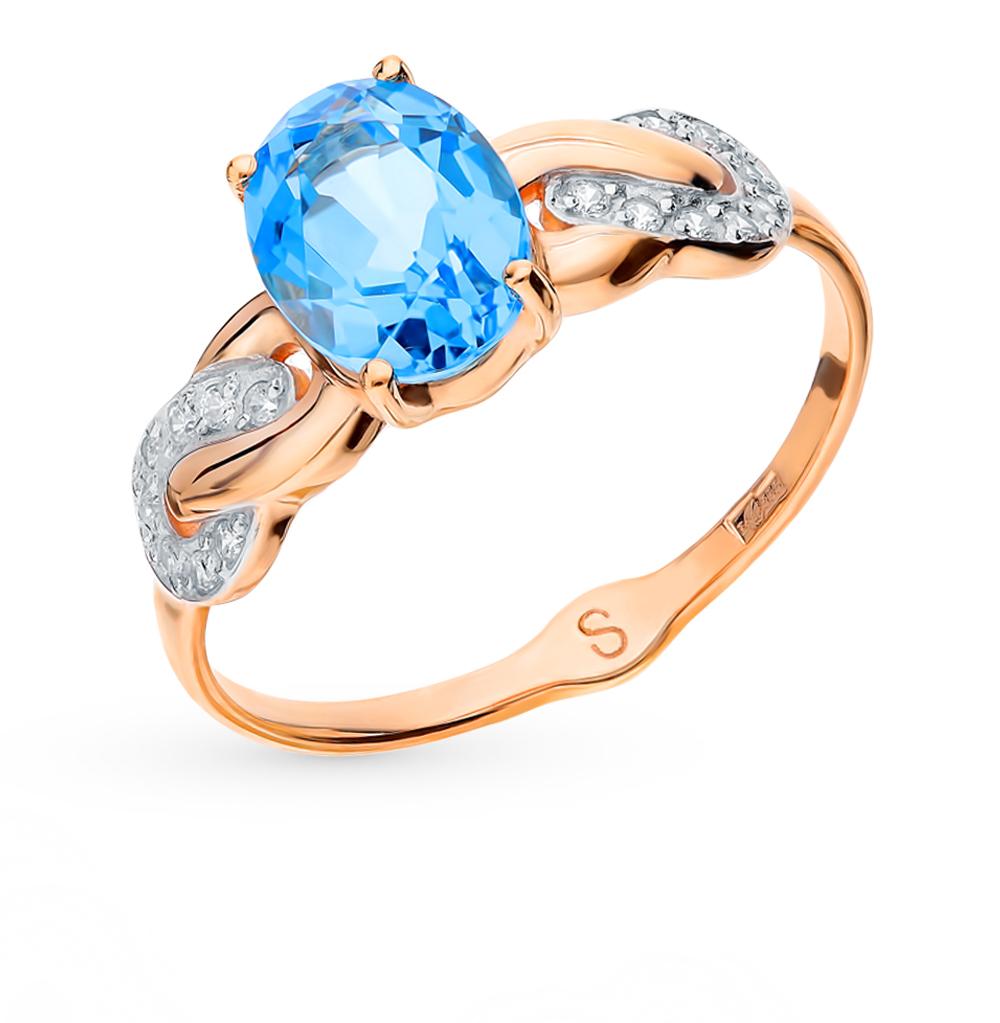 Фото «Золотое кольцо с топазами и фианитами SOKOLOV 715110*»