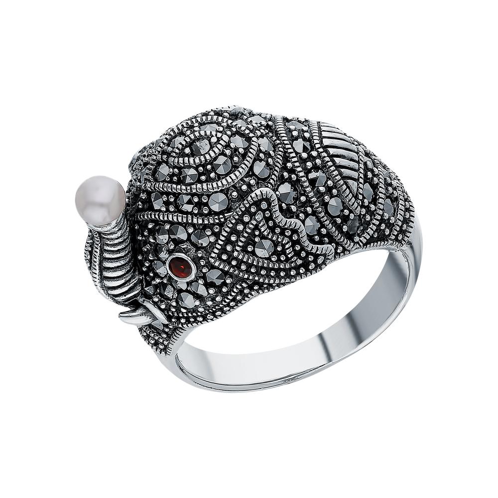 Серебряное кольцо с гранатом, жемчугами культивированными и марказитами swarovski в Санкт-Петербурге