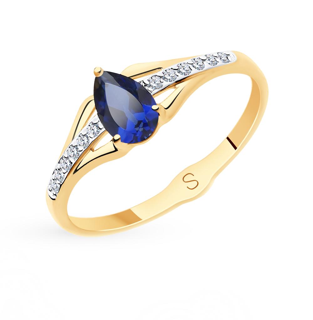 золотое кольцо с корундом и фианитами SOKOLOV 715614*