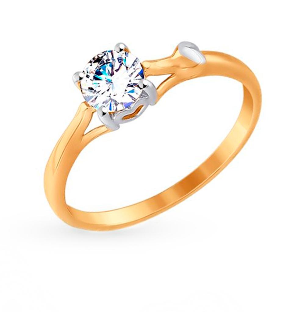золотое кольцо с фианитами SOKOLOV 017542