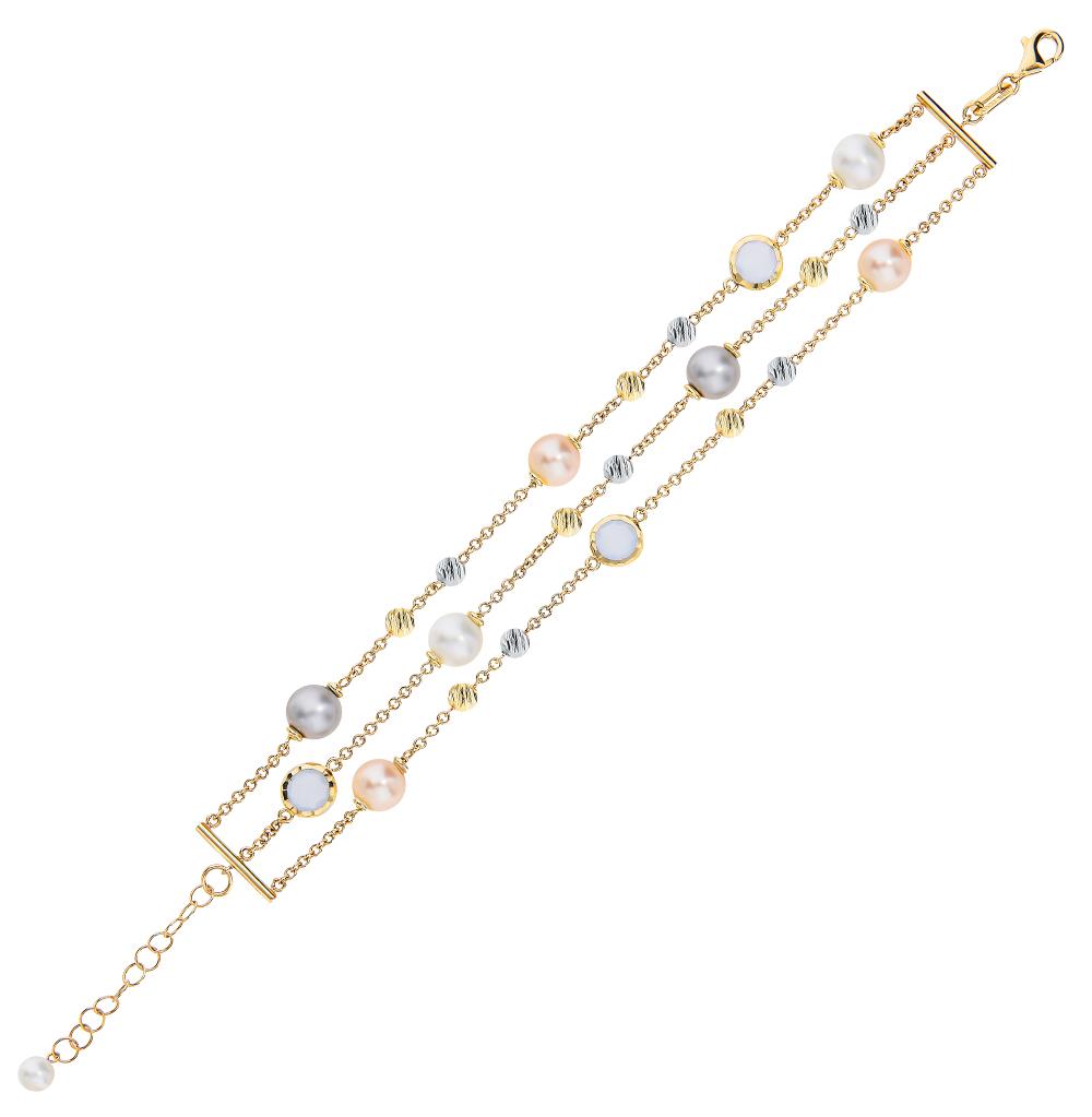 золотой браслет с халцедонами и жемчугом