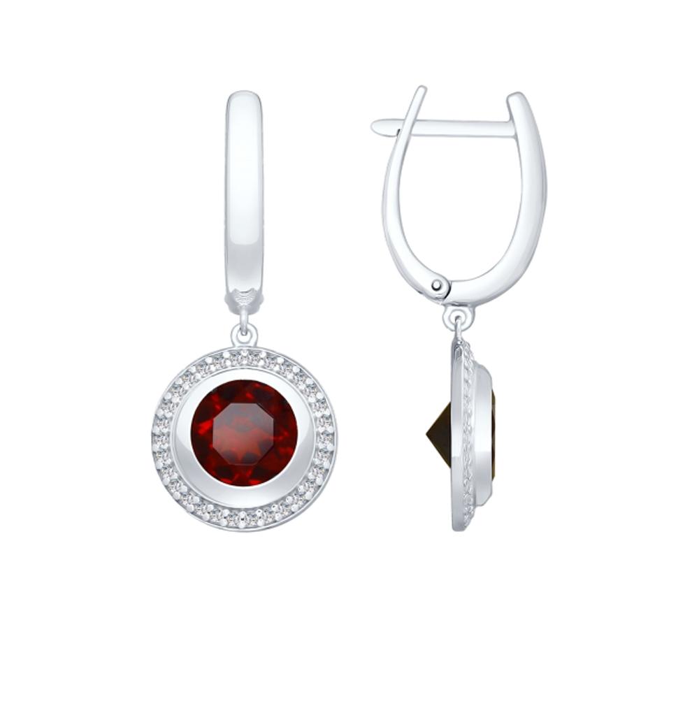 Серебряные серьги с фианитами и гранатом SOKOLOV 92022056 в Екатеринбурге