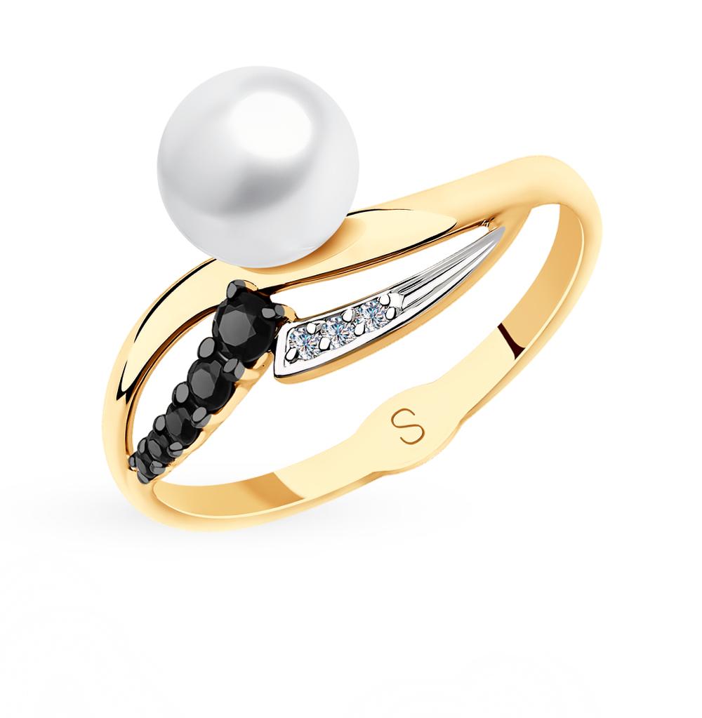 Золотое кольцо с фианитами и жемчугом SOKOLOV 791142* в Екатеринбурге