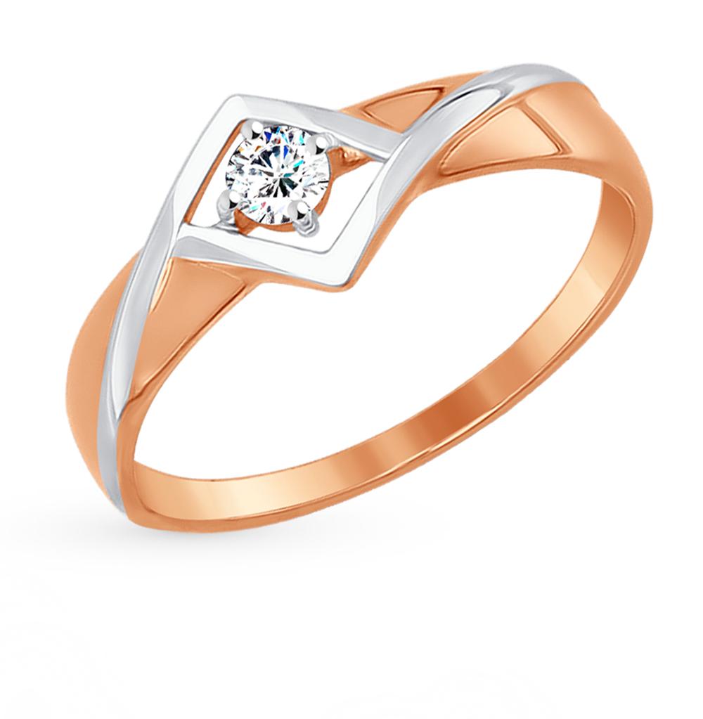 золотое кольцо с фианитами SOKOLOV 017274*
