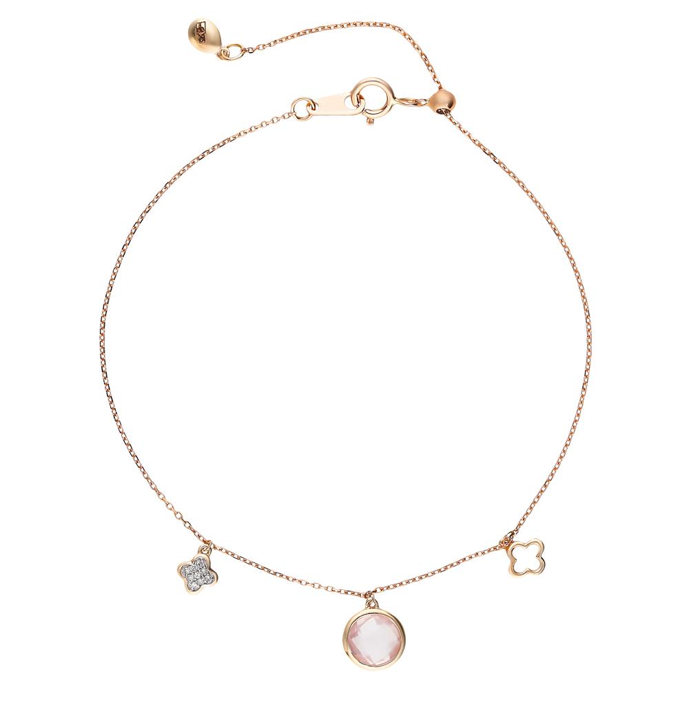 золотой браслет с кварцем и бриллиантами