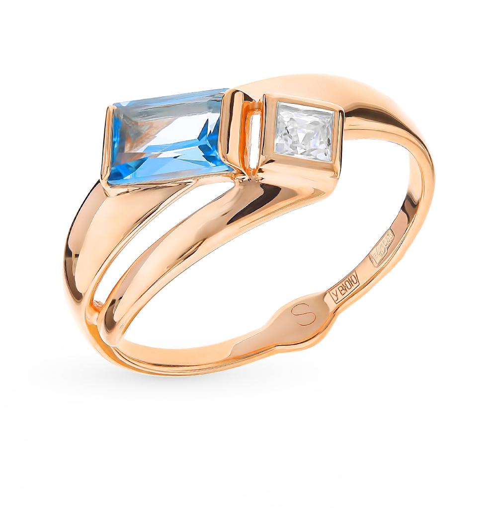 золотое кольцо с топазами и фианитами SOKOLOV 715211*