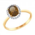 золотое кольцо с раухтопазами и фианитами SOKOLOV 714966
