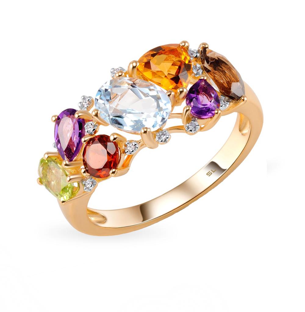 золотое кольцо с хризолитом, раухтопазами, аметистом, топазами, гранатом, цитринами, кварцами дымчатыми и бриллиантами