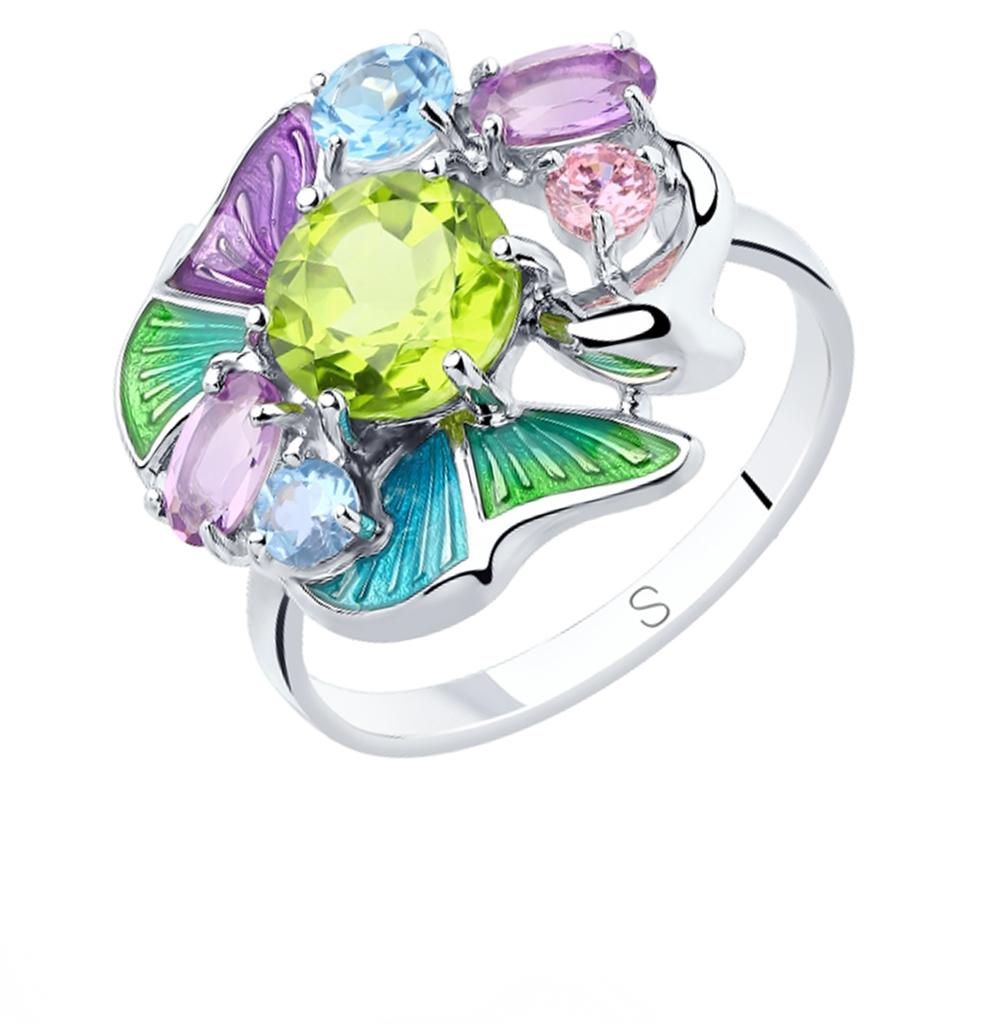 серебряное кольцо с хризолитом, аметистом, топазами, фианитами и эмалью SOKOLOV 92011839