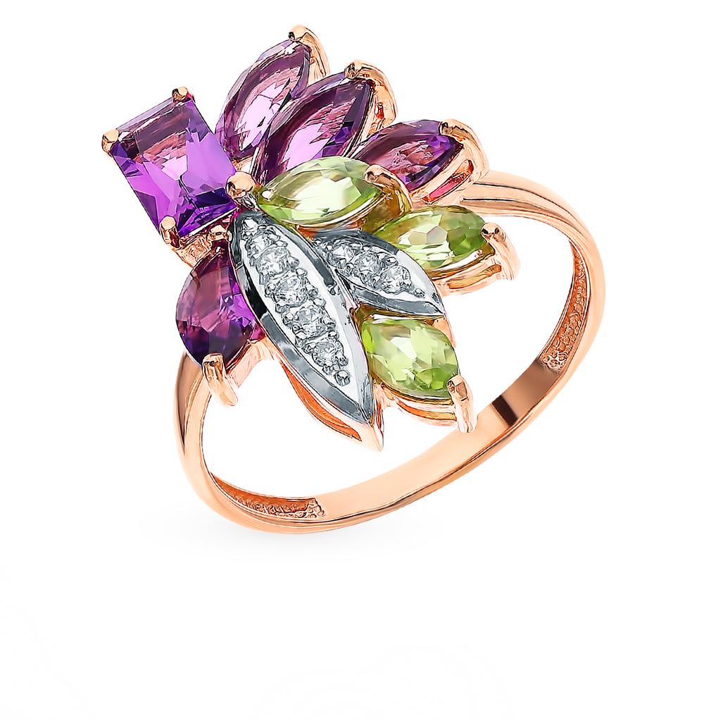 золотое кольцо с хризолитом, аметистом и фианитами