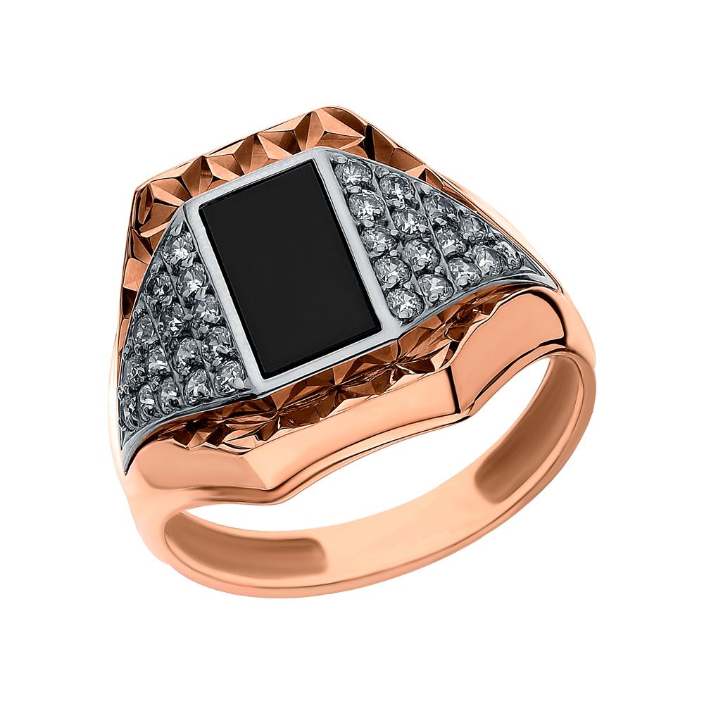 Золотое кольцо с ониксом и кубическими циркониями в Санкт-Петербурге