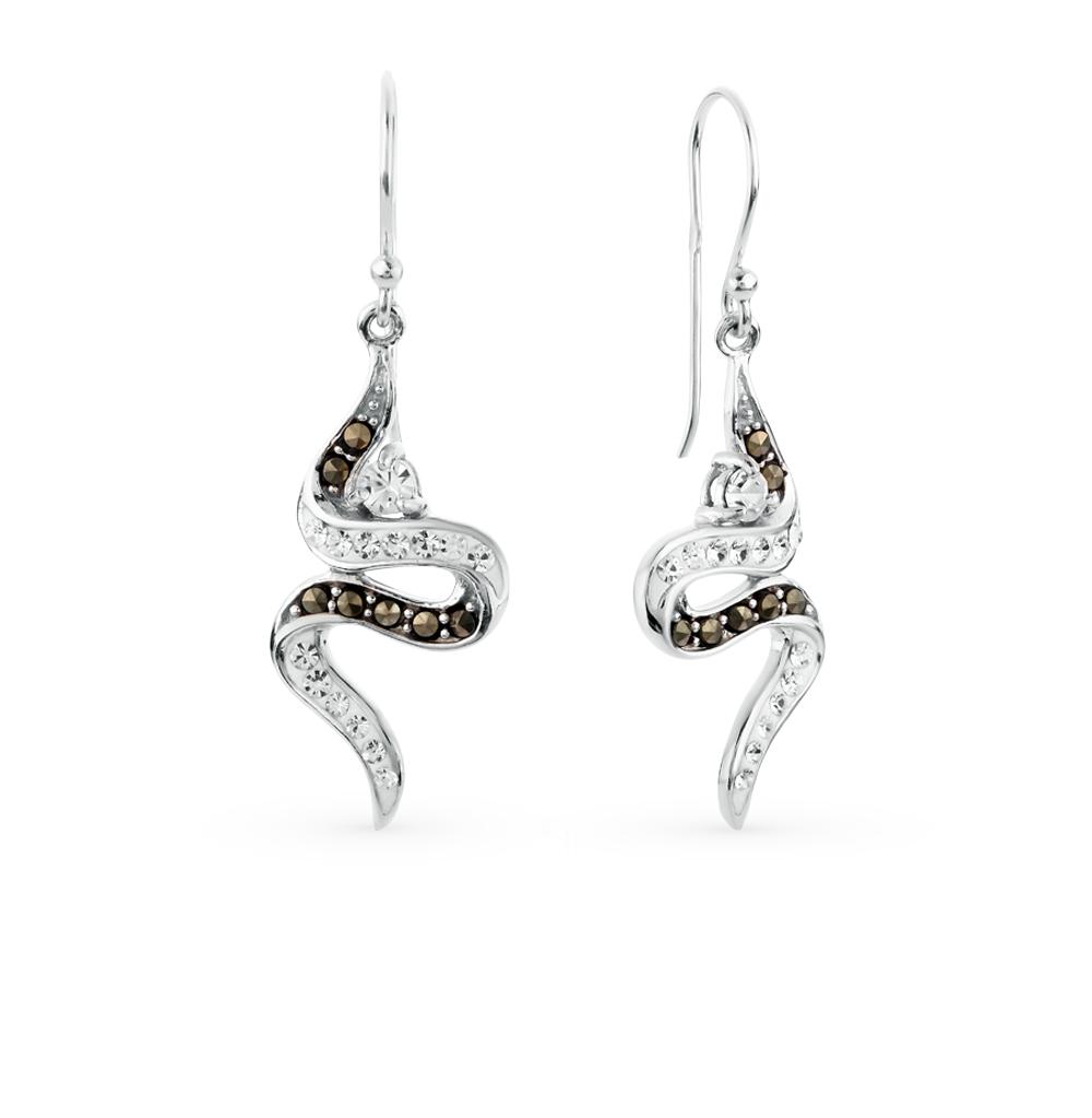 Фото «серебряные серьги с кристаллами и марказитами»