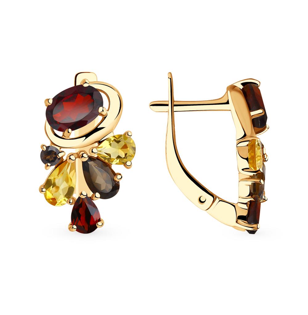 золотые серьги с раухтопазами, гранатом и цитринами SOKOLOV 725880*