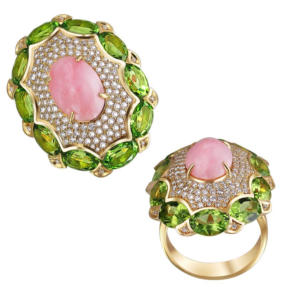 золотое кольцо с хризолитом, опалами и бриллиантами