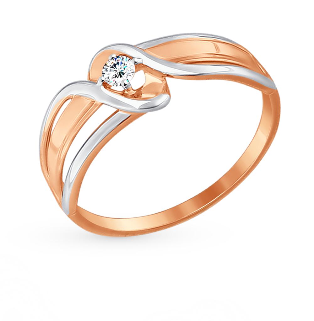 золотое кольцо с фианитами SOKOLOV 017457*