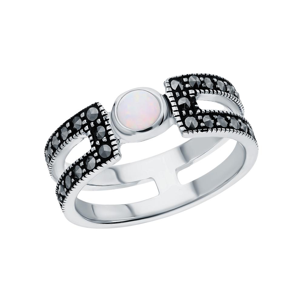 Фото «Серебряное кольцо с марказитами и опалами имитациями»