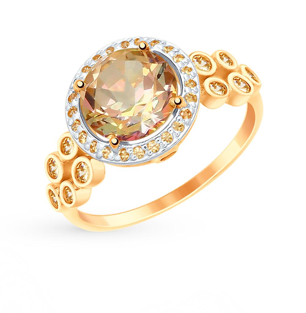 Фото «Золотое кольцо с топазом и фианитами SOKOLOV 715018*»
