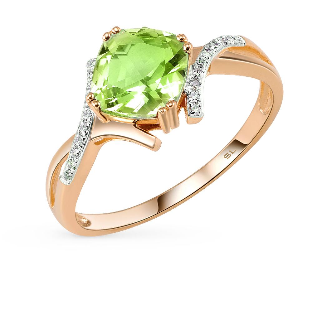 золотое кольцо с султанитами и бриллиантами