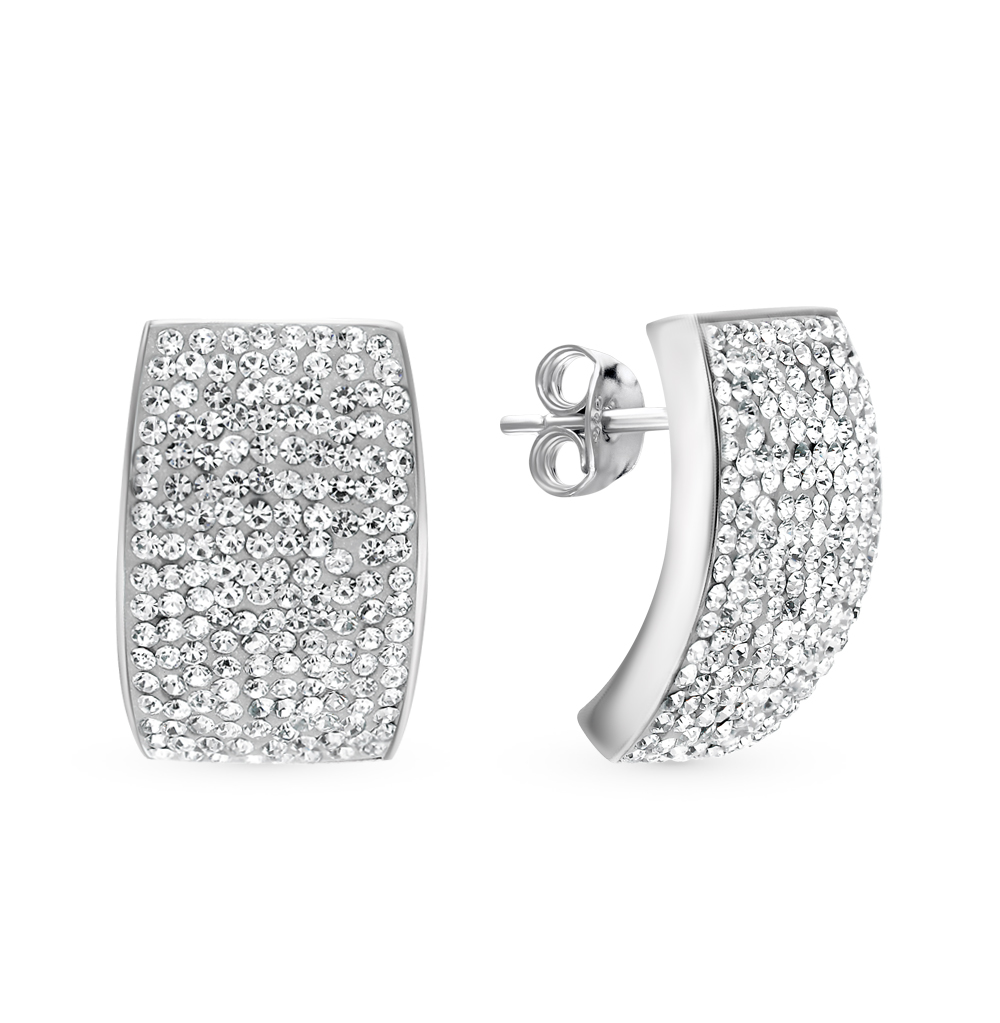 серебряные серьги с кристаллами swarovski
