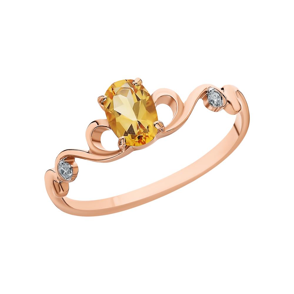 Золотое кольцо с фианитами и цитринами в Екатеринбурге