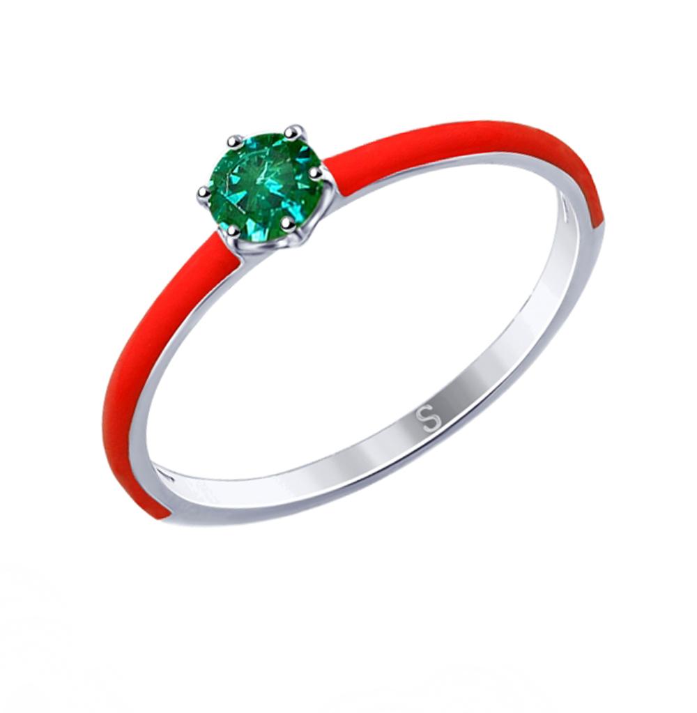серебряное кольцо с фианитами и эмалью SOKOLOV 94012769