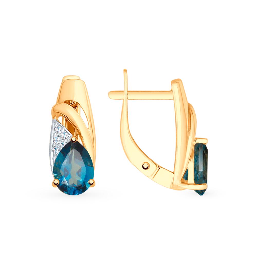 золотые серьги с топазами и фианитами SOKOLOV 725598*