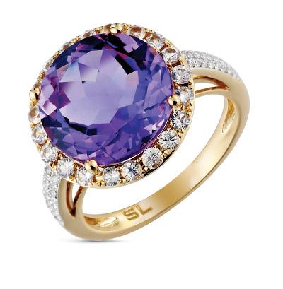 Фото «золотое кольцо с аметистом, сапфирами и бриллиантами»