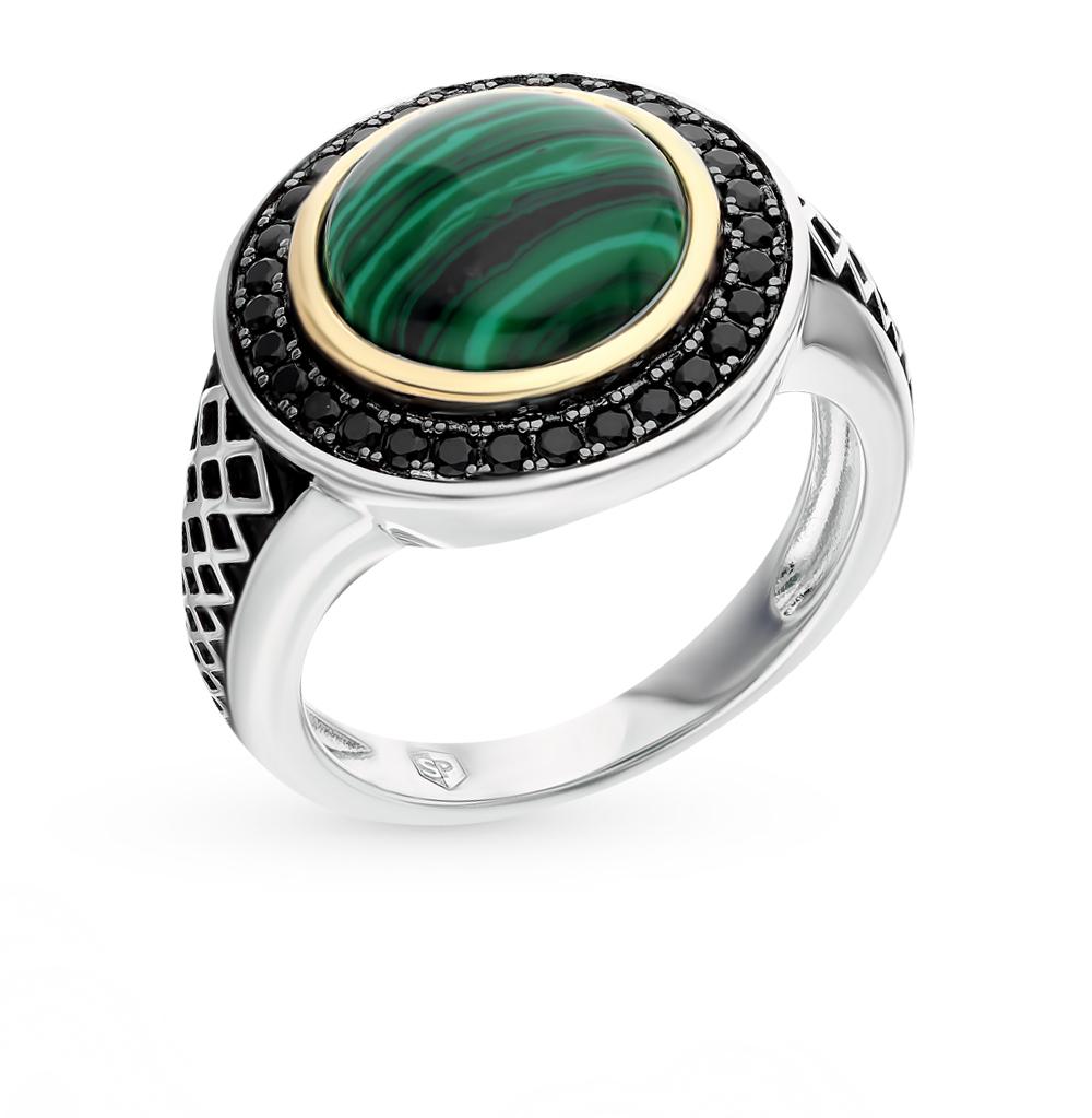 серебряное кольцо с малахитом и фианитами