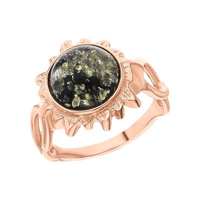 Серебряное кольцо с янтарем ЯНТАРНАЯ ЛАГУНА 4LP022: розовое серебро 925 пробы, янтарь — купить в интернет-магазине SUNLIGHT, фото, артикул 153402