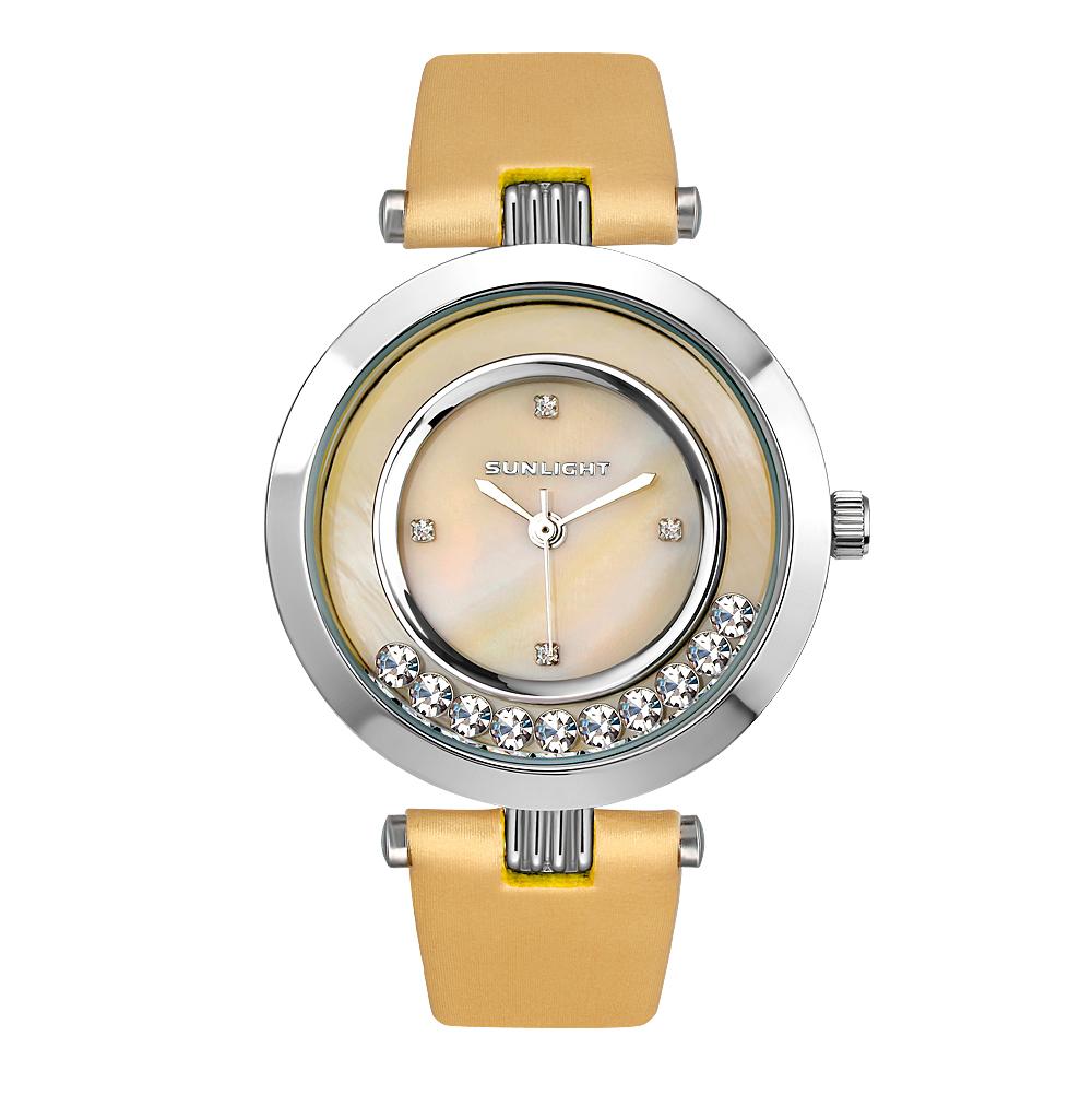 Фото «Женские часы с перламутром и танцующими кристаллами на сатиновом ремне»