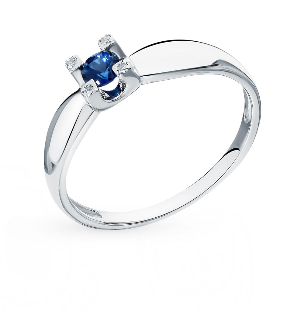 золотое кольцо с сапфирами и бриллиантами