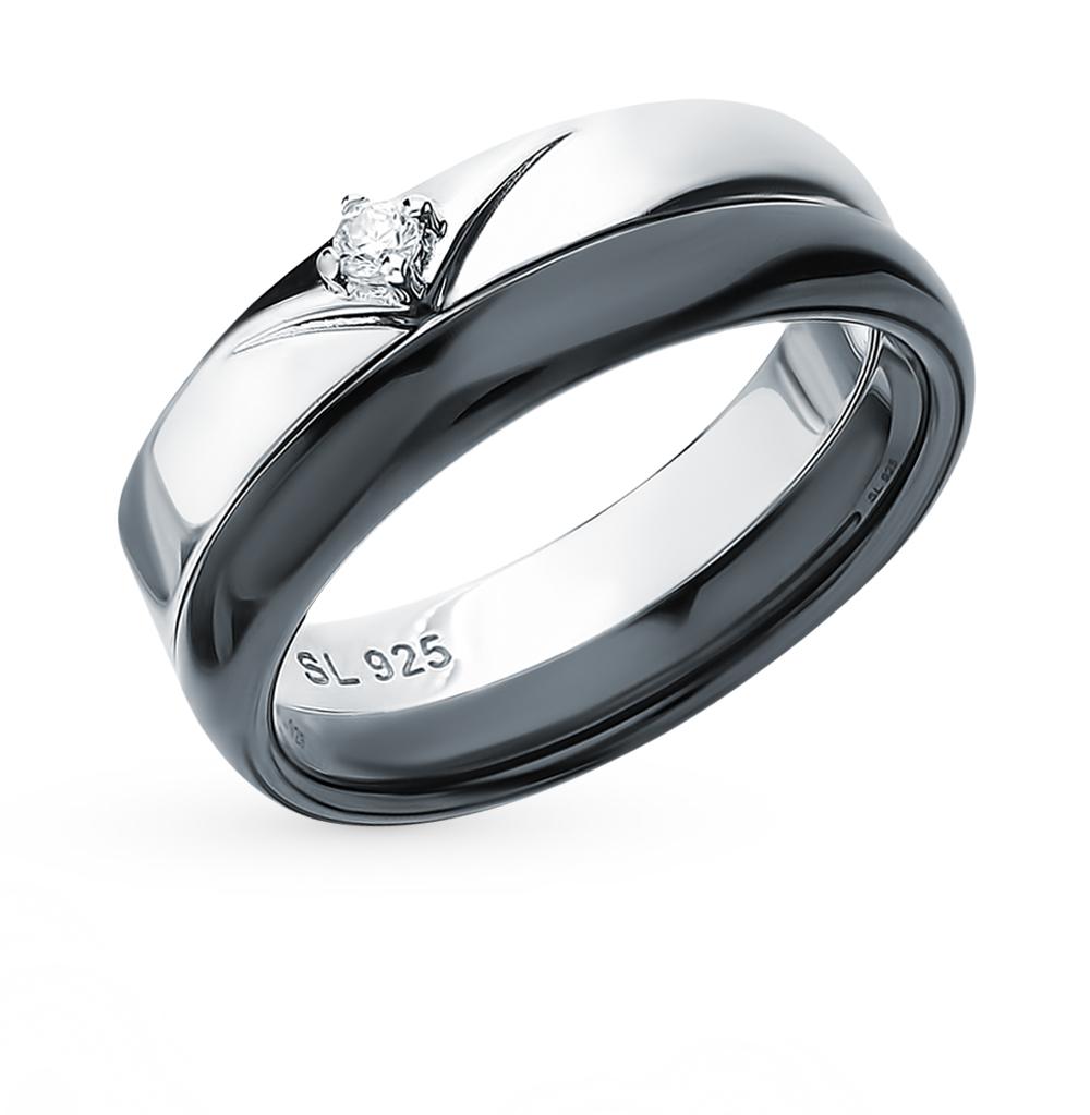 Серебряное кольцо с керамикой и фианитом в Екатеринбурге