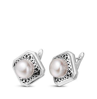 Фото «Серебряные серьги с жемчугом и эмалью»