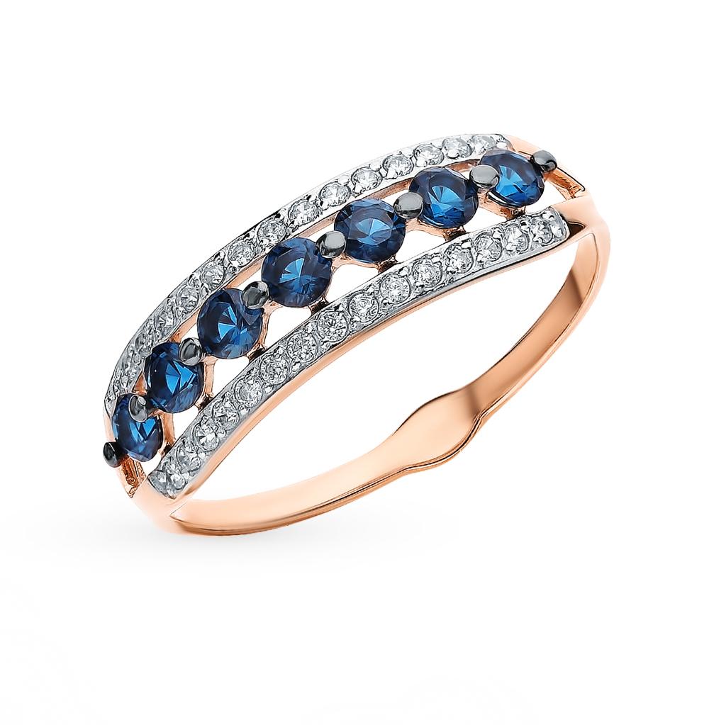 золотое кольцо с фианитами SOKOLOV 018084