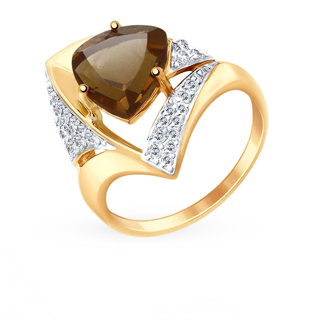 Фото «Золотое кольцо с раухтопазами и фианитами SOKOLOV 714948»