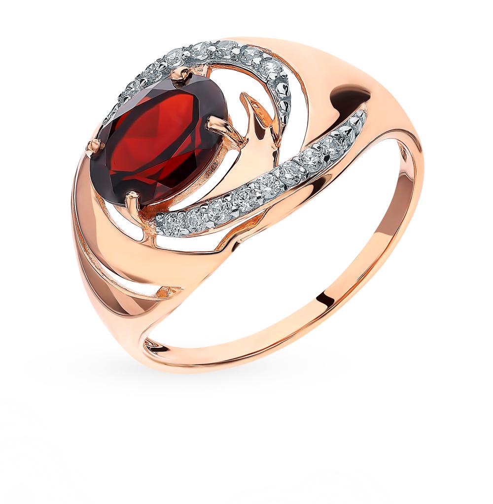Золотое кольцо с фианитами и гранатом в Санкт-Петербурге