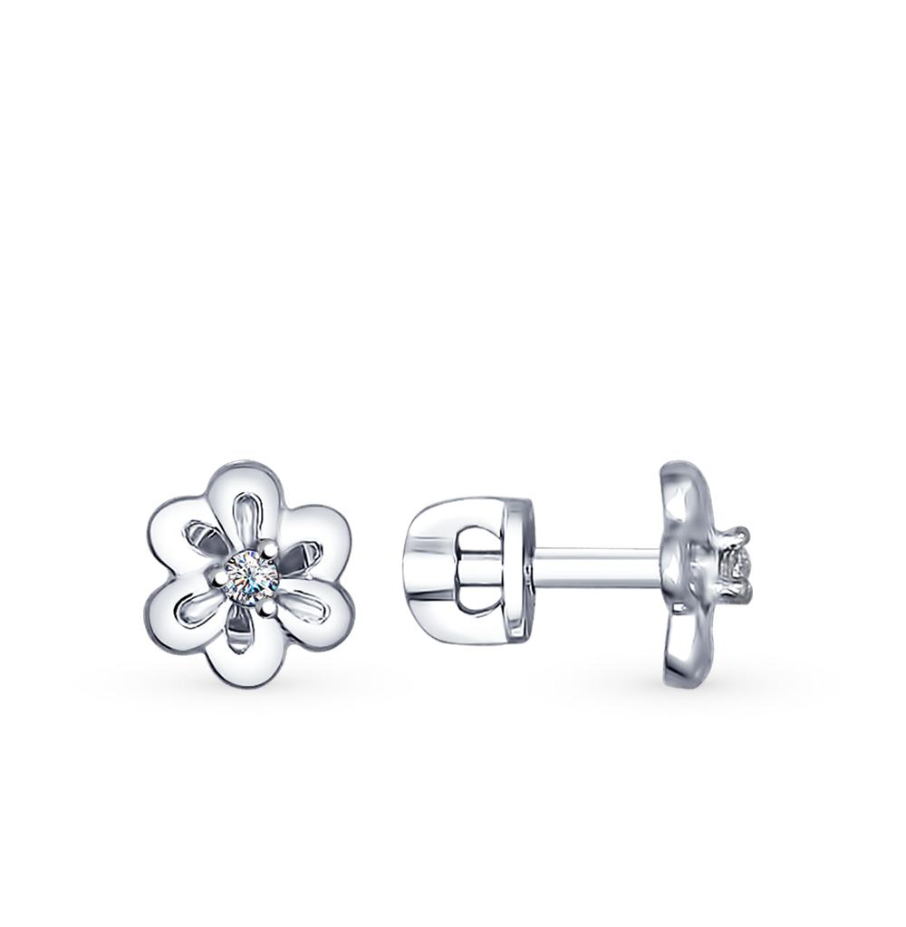серебряные серьги с фианитами SOKOLOV 94022493