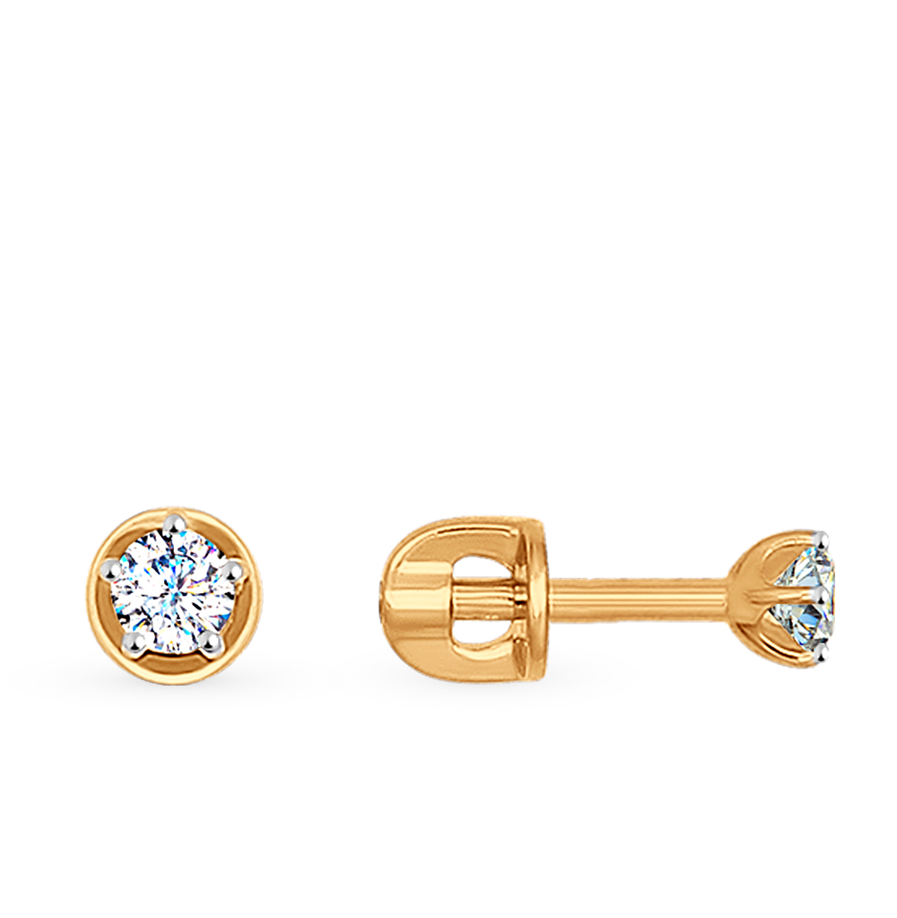 золотые серьги с фианитами SOKOLOV 026932*