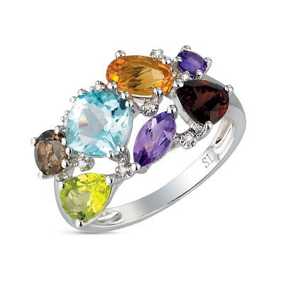 Фото «Золотое кольцо с хризолитом, аметистом, топазами, гранатом, цитринами и бриллиантами»