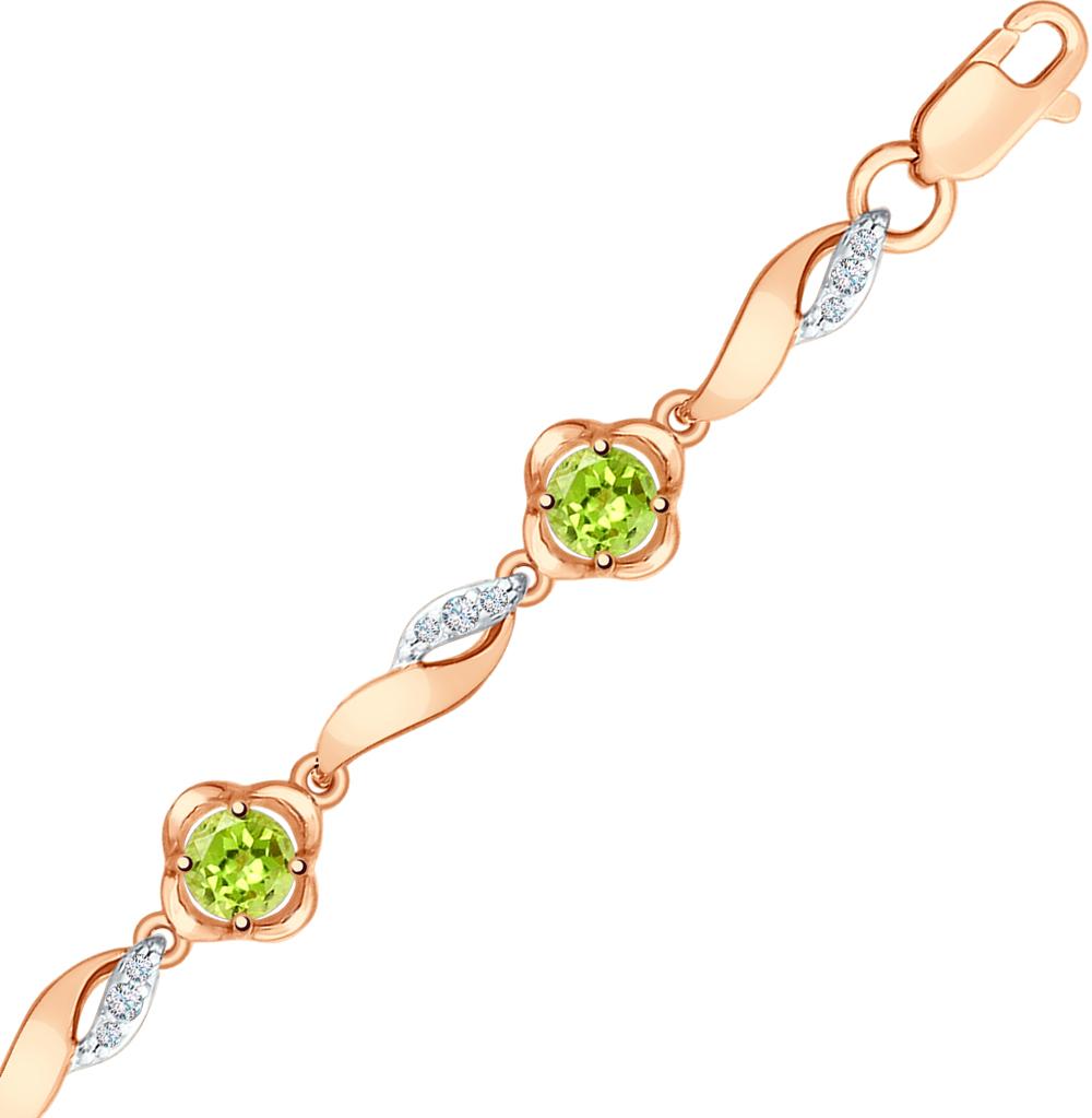 золотой браслет с хризолитом и фианитами SOKOLOV 750264*