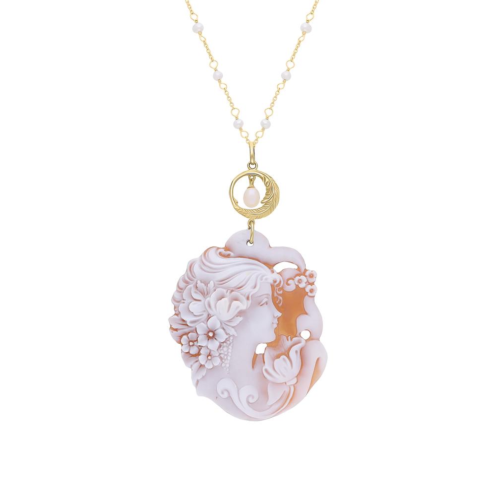 Фото «Серебряное шейное украшение с жемчугами культивированными и камеями»