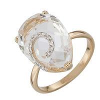 Золотое кольцо с горным хрусталем и фианитами в Екатеринбурге