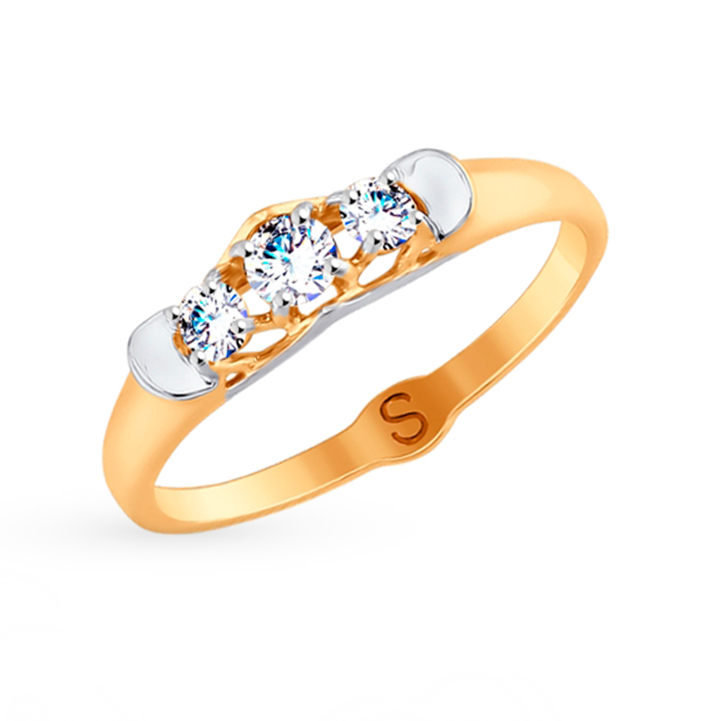 Фото «Золотое кольцо с фианитами SOKOLOV 017751»