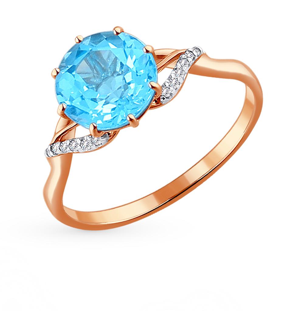 золотое кольцо с топазами и фианитами SOKOLOV 714007*