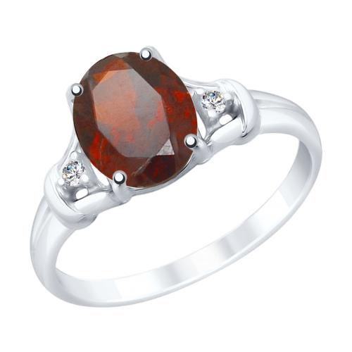 Фото «Серебряное кольцо с фианитами и гранатом SOKOLOV 92011784»